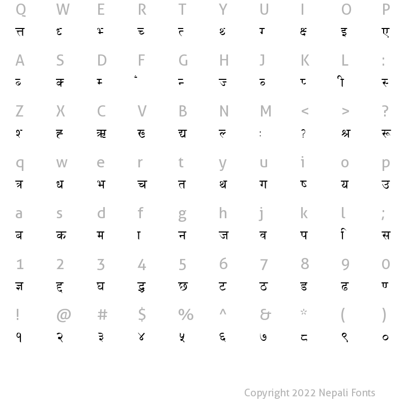 Character Map of DevanagariBold Regular