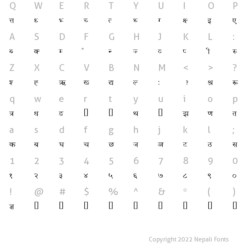 Character Map of NewScript1_Numeric Numeric
